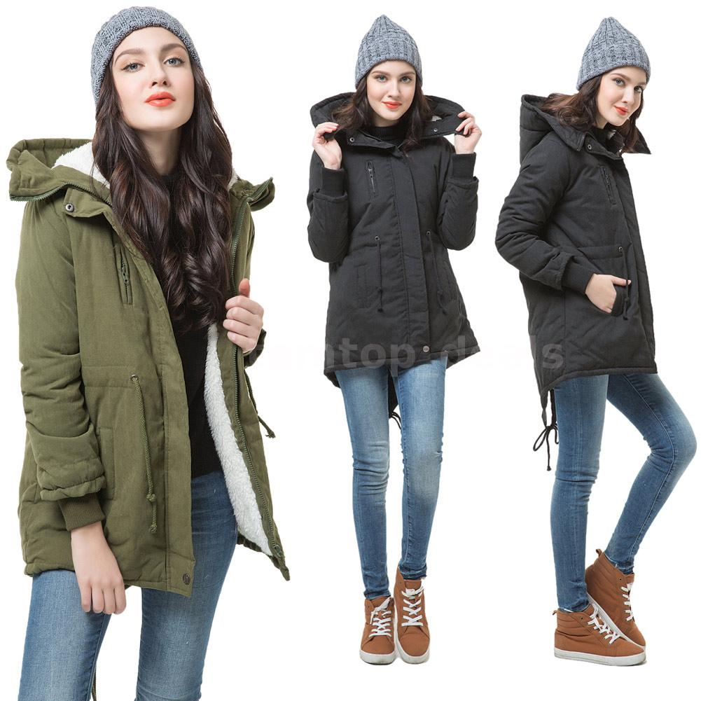 Winter Women Parka Coat Hooded Thick Fleece Jacket Warm Overcoat ...